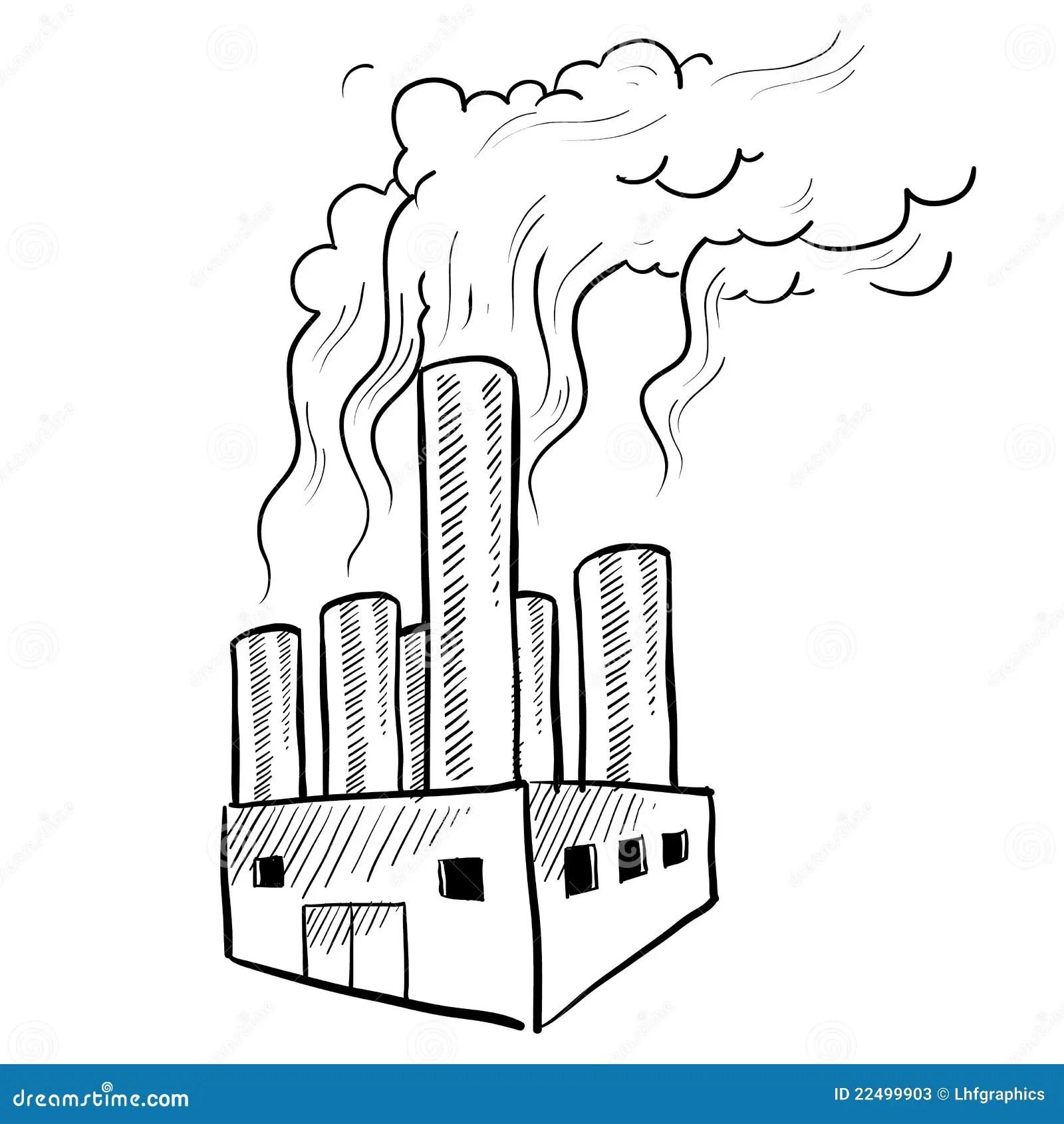 Croquis D Usine De Pollution Illustration De Vecteur