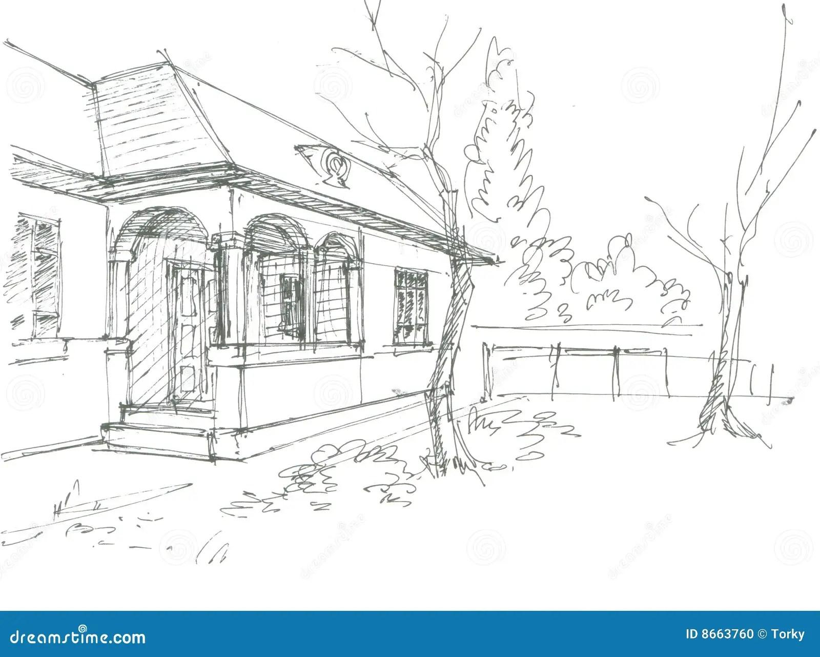Croquis De Maison De Village Illustration De Vecteur