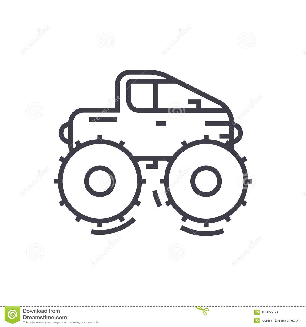 Cross Country Vehicle Jeep Vector Line Icon Sign