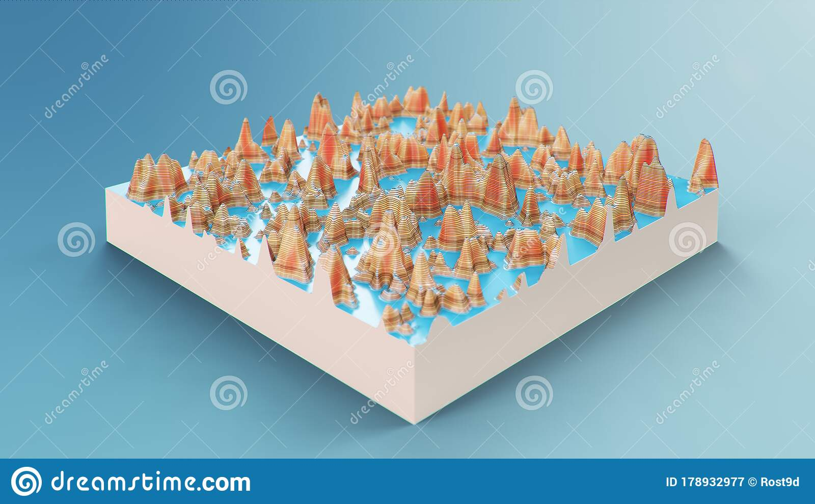 Cross Section Topographic 3d Map Contour Lines On A