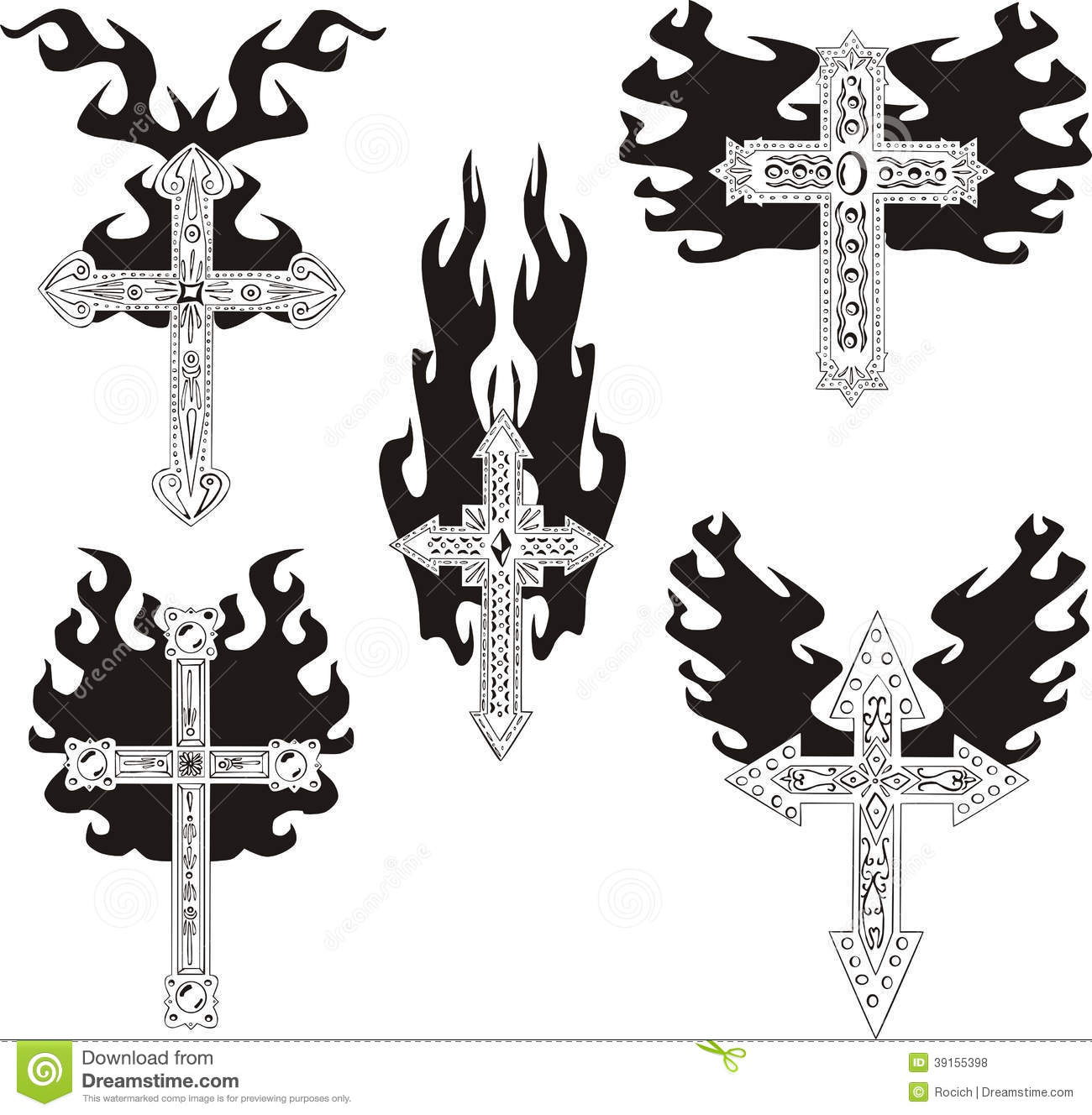 Crosses With Flames Stock Vector