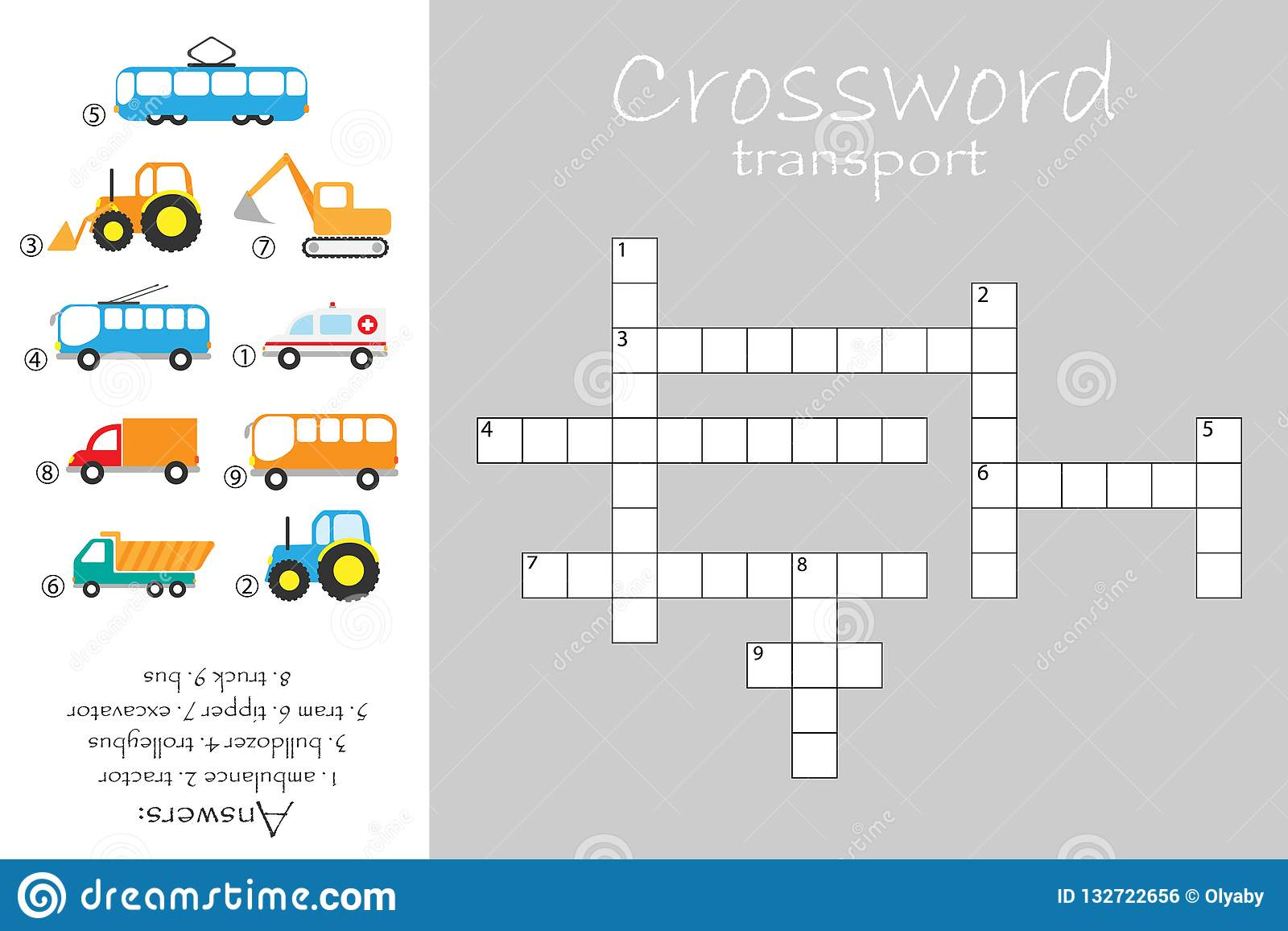 Crossword For Children Construction And Public Transport