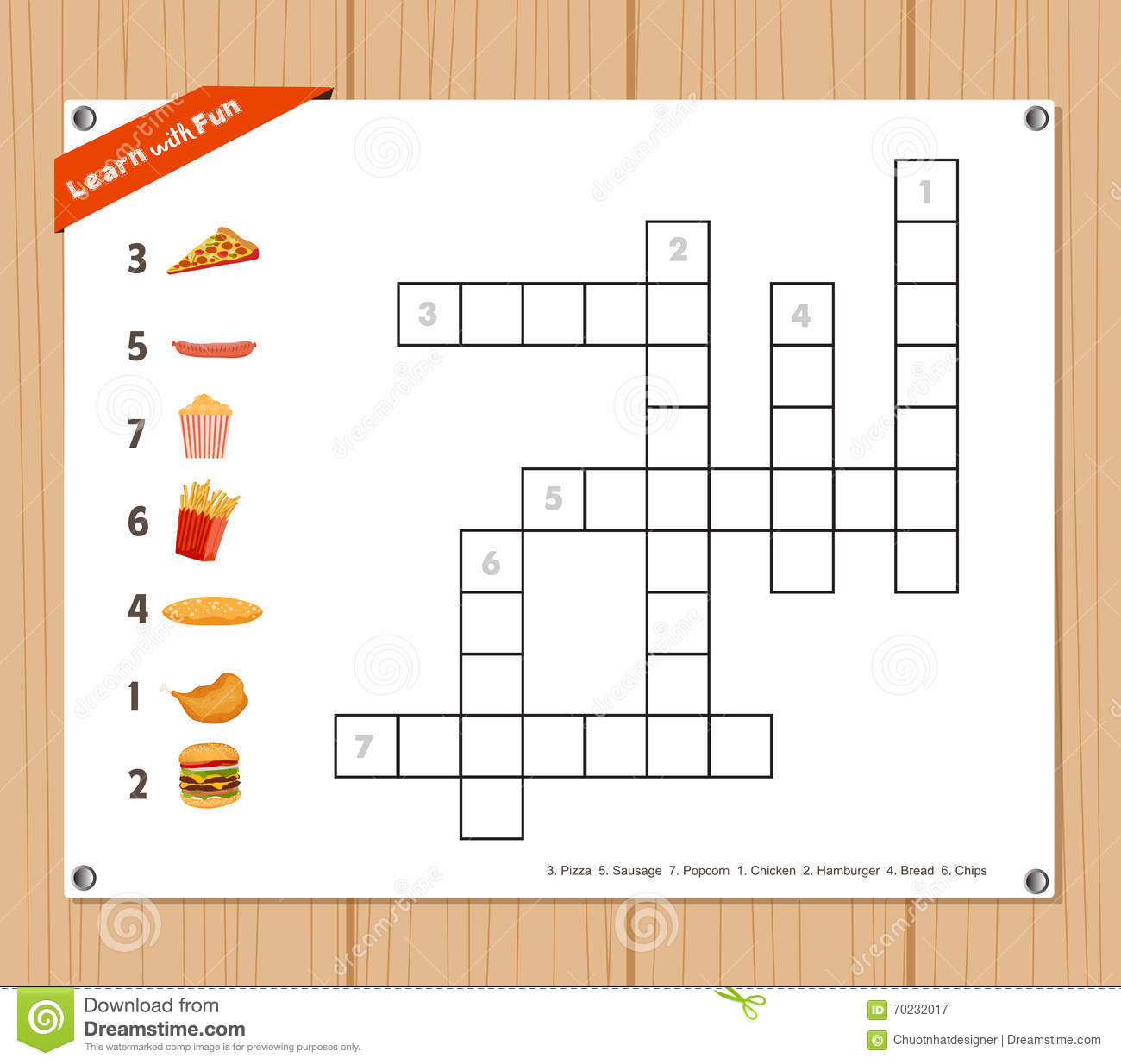 Crossword Education Game For Children About Fast Food