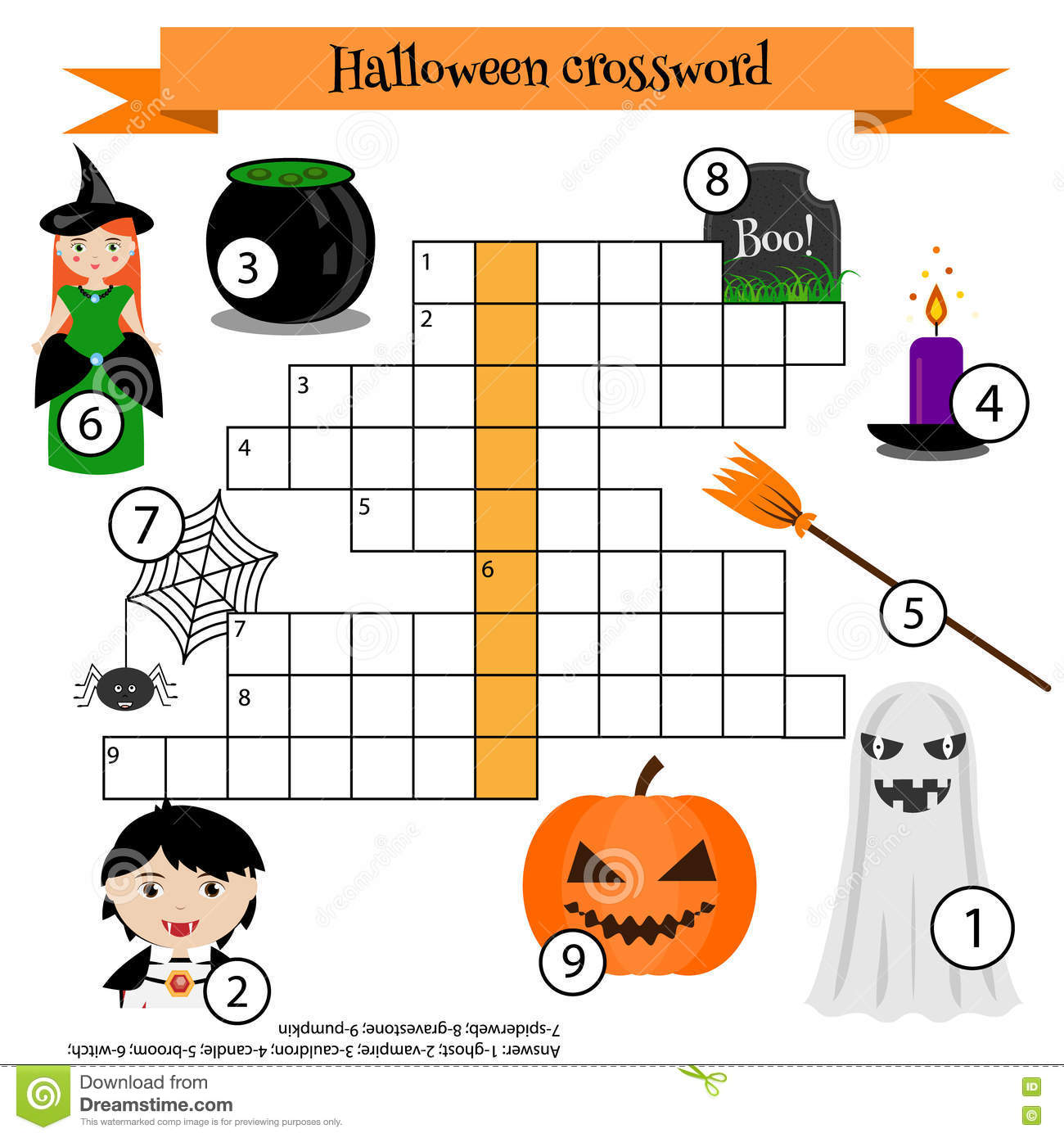 Crossword Educational Children Game With Answer Halloween