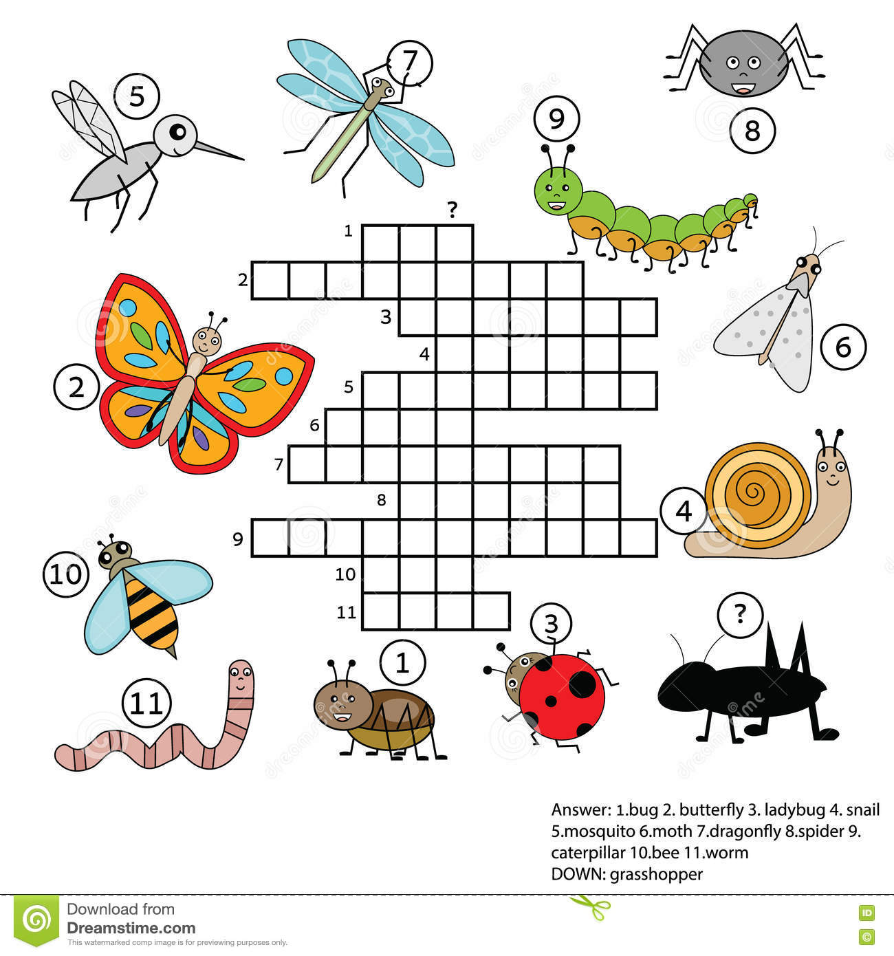 Crossword Educational Children Game With Answer Insects
