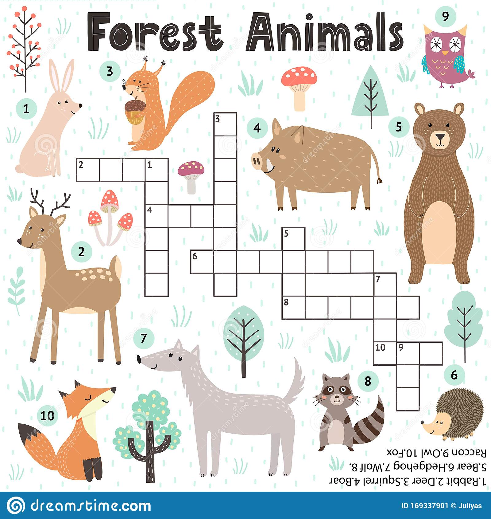 Crossword Game For Kids With Cute Forest Animals Stock