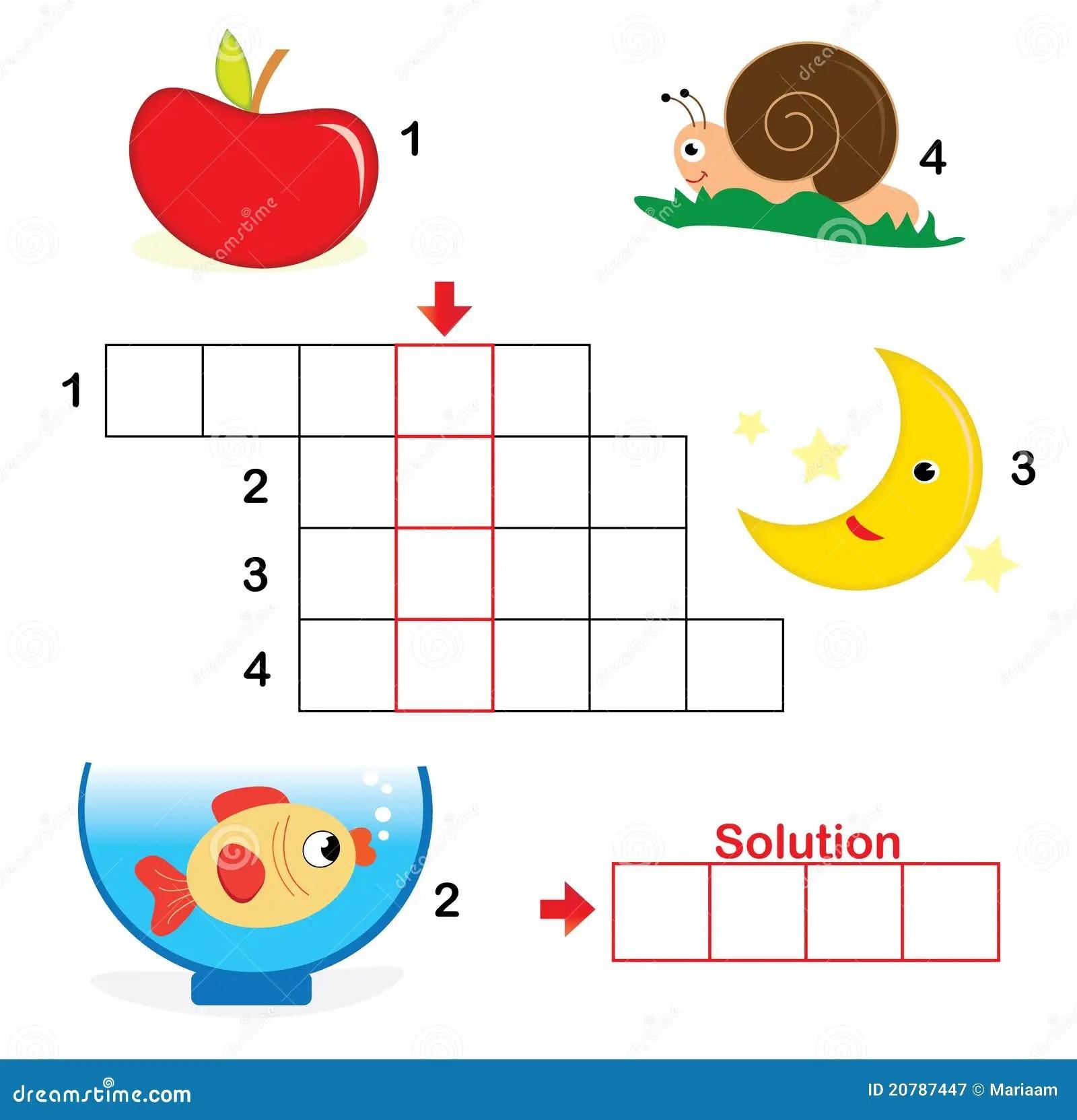 Crossword Puzzle For Children Part 1 Stock Vector