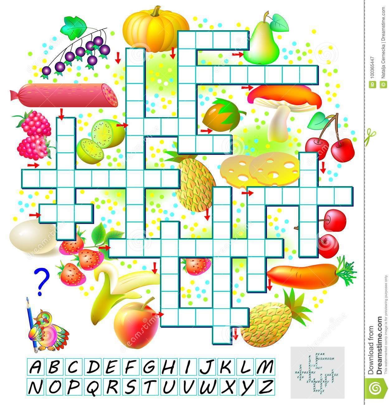 Crossword Puzzle Game With Food Educational Page For