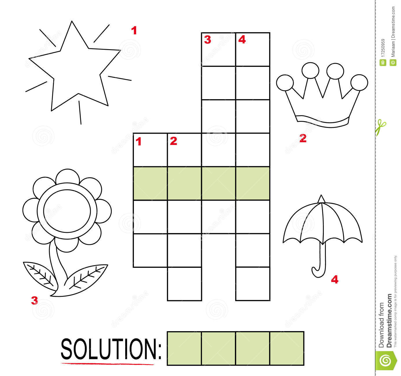 Crossword Puzzle For Kids Part 3 Royalty Free Stock