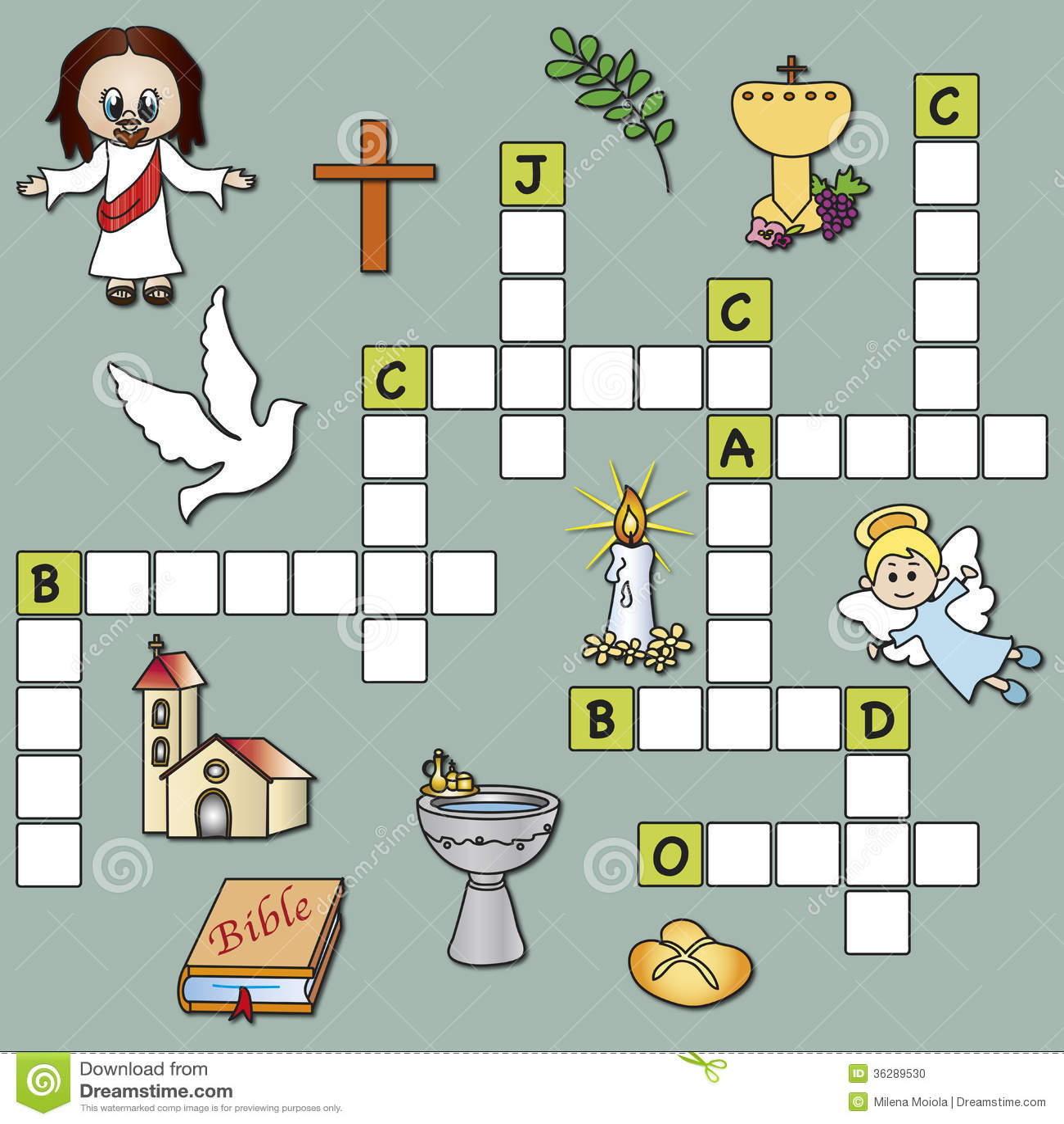 Crossword Religion Stock Illustration Illustration Of