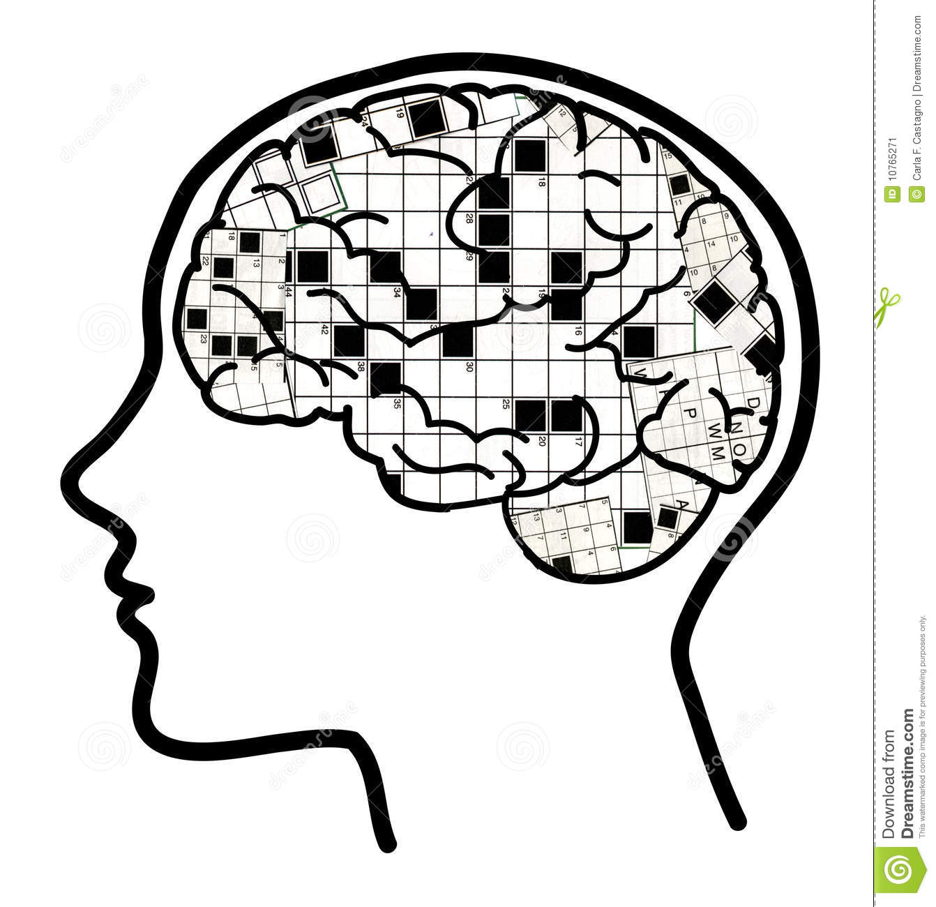 Crossword In Brain Collage Stock Vector Illustration Of