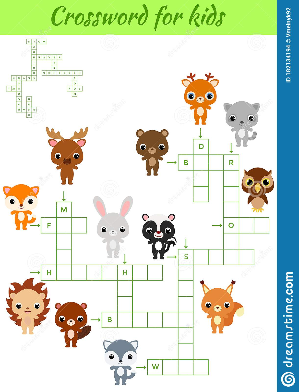 Crosswords Game Of Animals For Children With Pictures