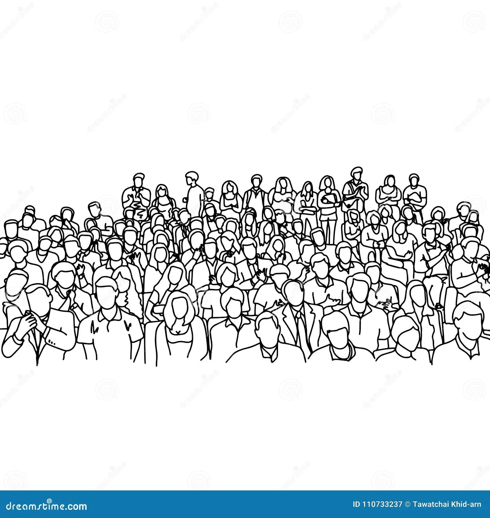 Crowd People In Meeting Slope Room Vector Illustration