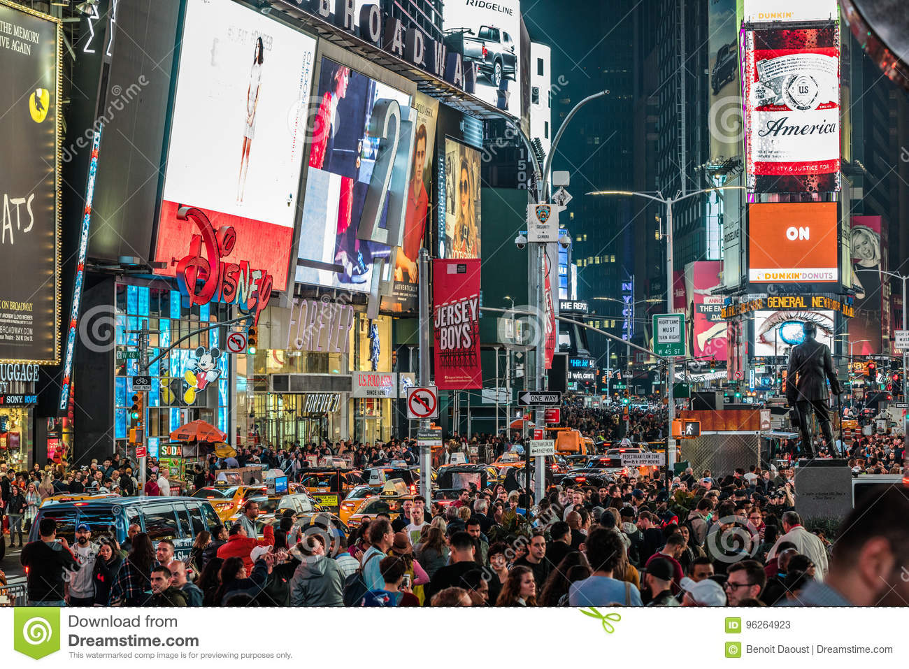 https www dreamstime com editorial stock photo crowded times square night led advertising lighting up th new york usa october place manhattan new york image96264923