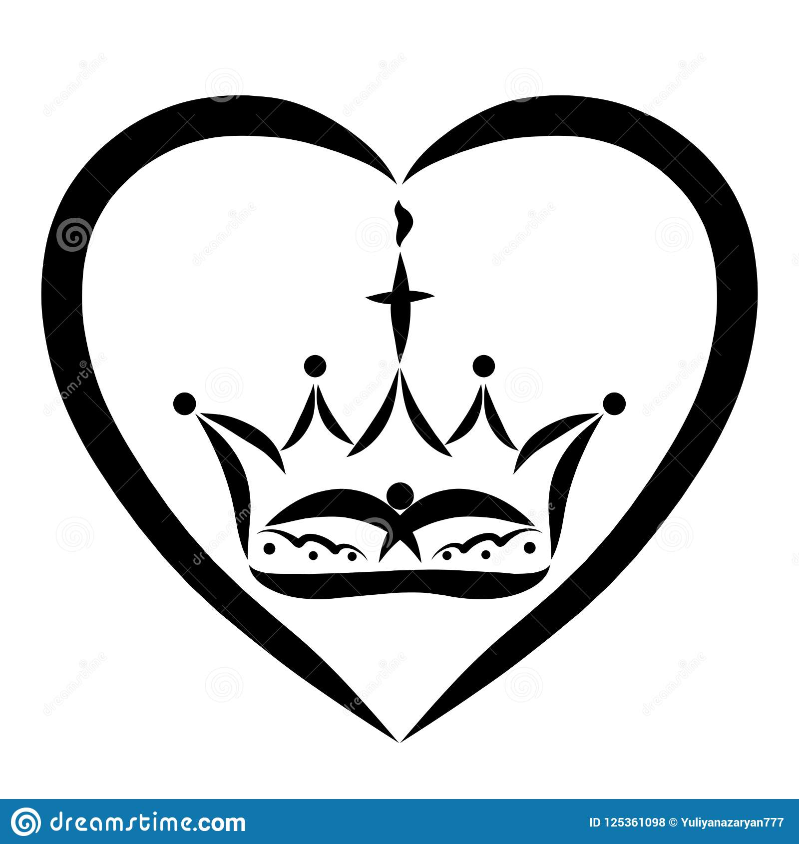 Crown With A Cross Flame And A Bird In The Heart The