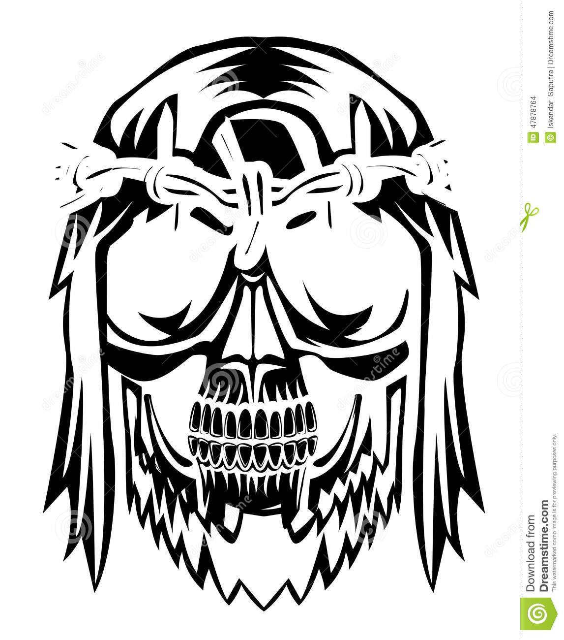 Crown Of Thorns With Skull Head Stock Vector