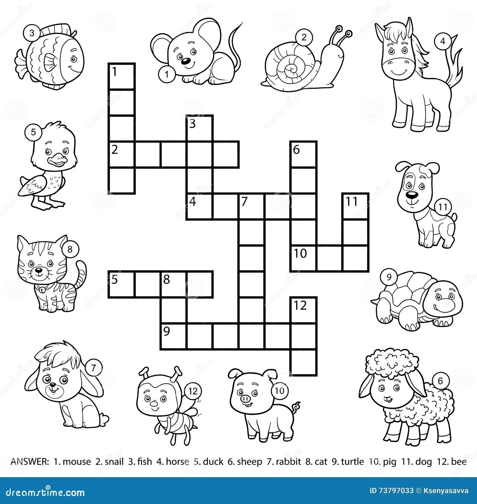 Crucigrama Blanco Y Negro Del Vector Sobre Animales
