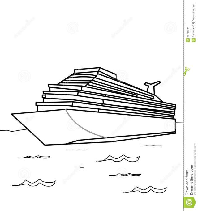 Cruise ship coloring page stock illustration. Illustration of