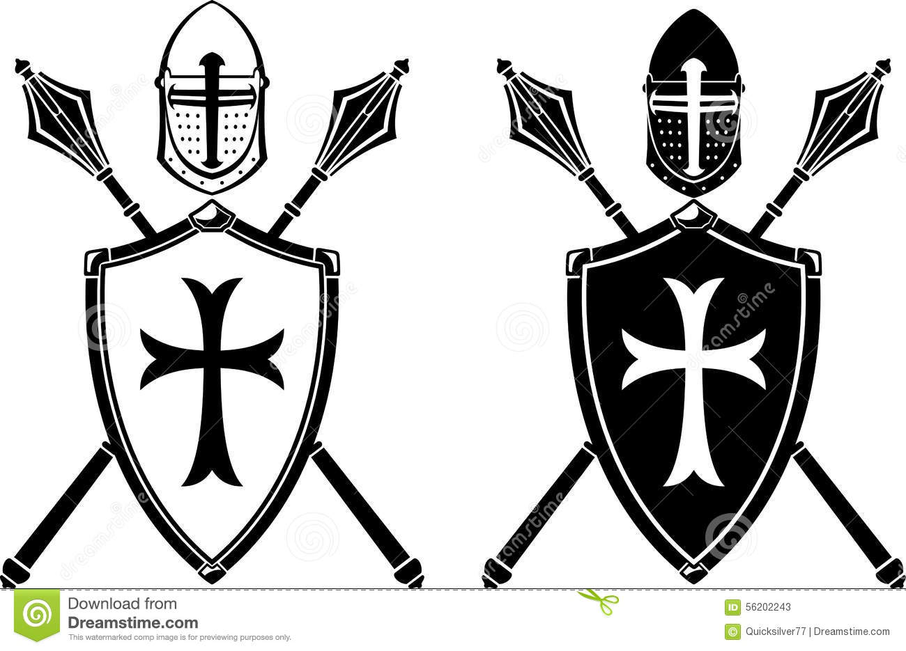 Crusader Crest Armor And Mace Weapon Stock Vector