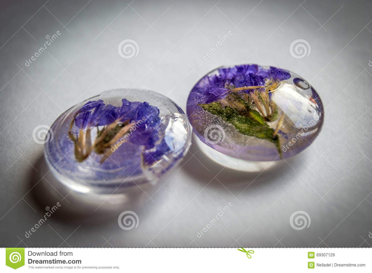 Crystals Made Of Epoxy Resin With Flowers Stock Image