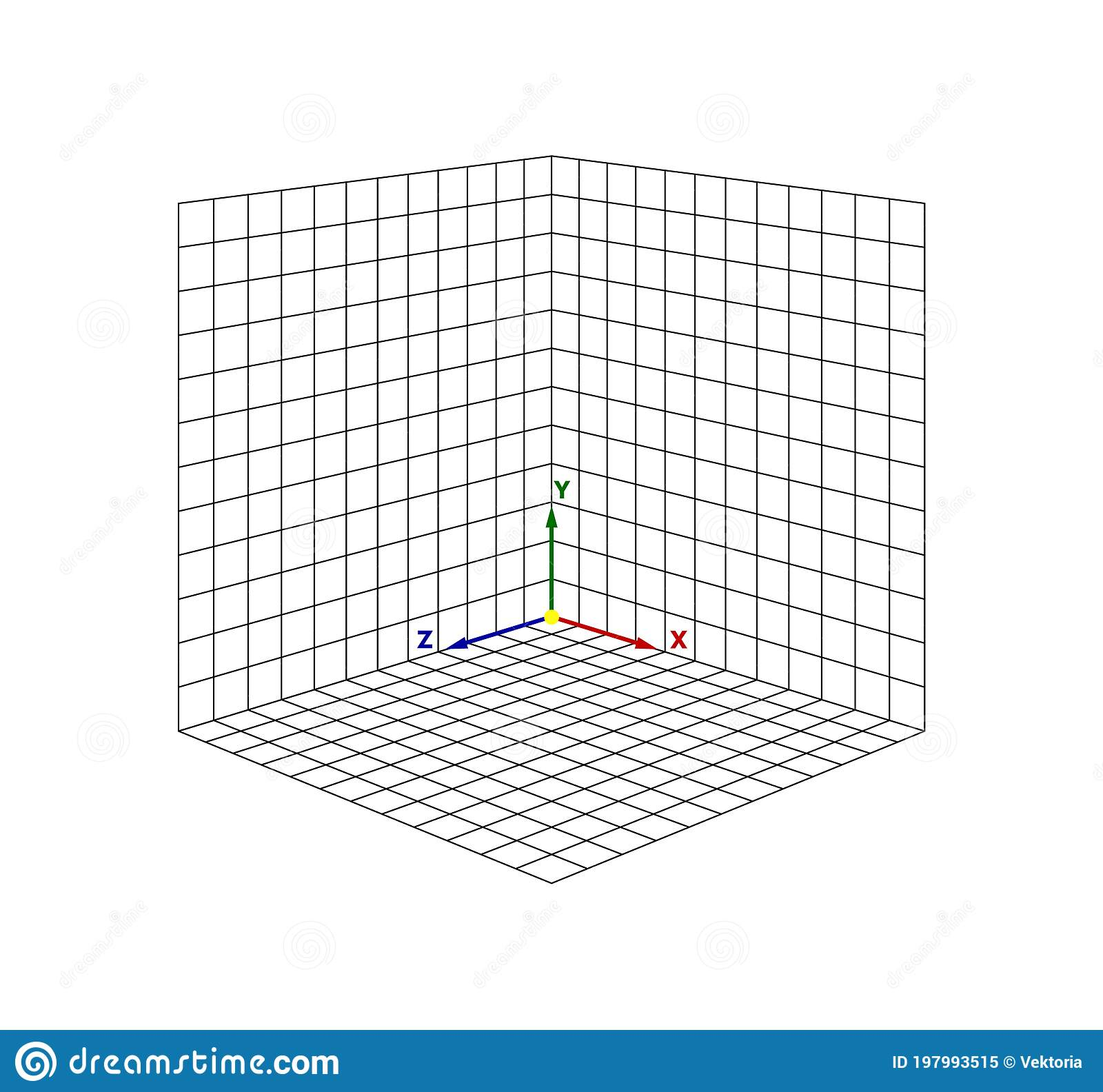 Cube Perspective Grid Three Dimensional Vector Isometric