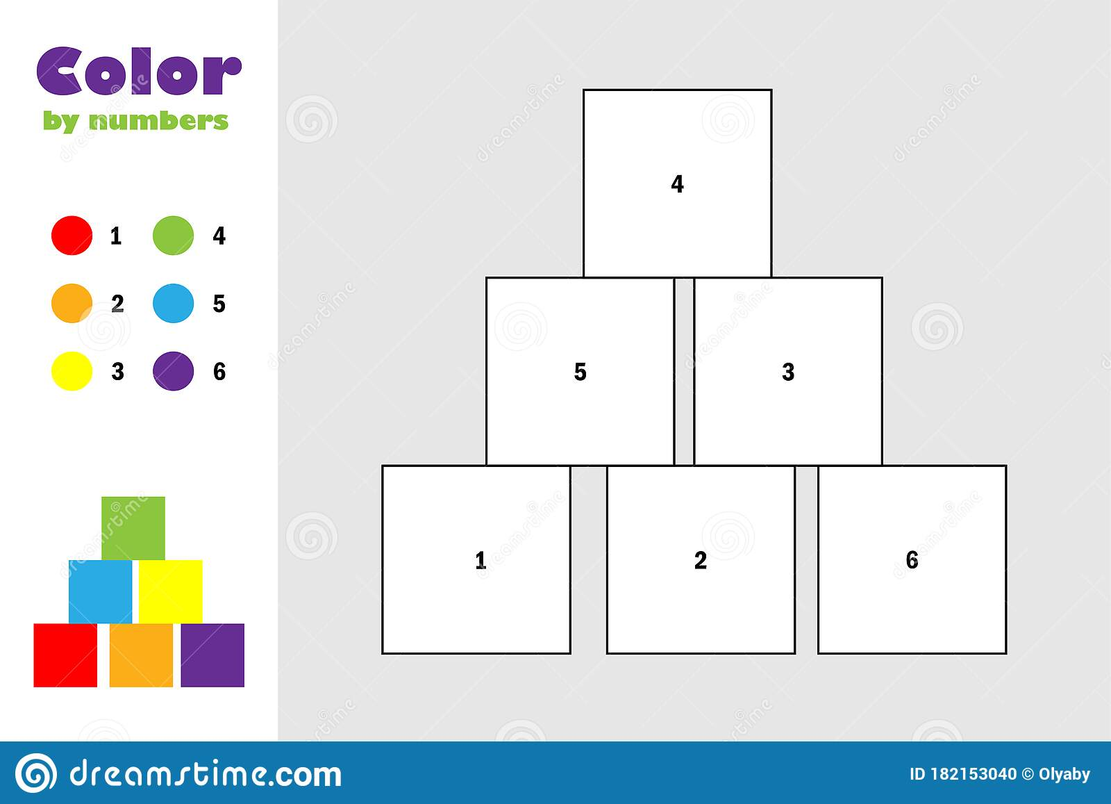 Cubes In Cartoon Style Color By Number Education Paper