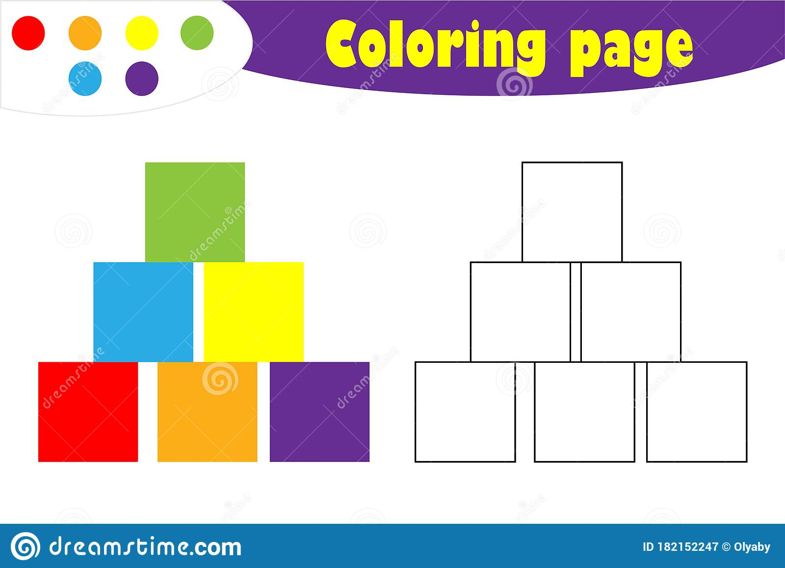 Cubes In Cartoon Style Coloring Page Education Paper