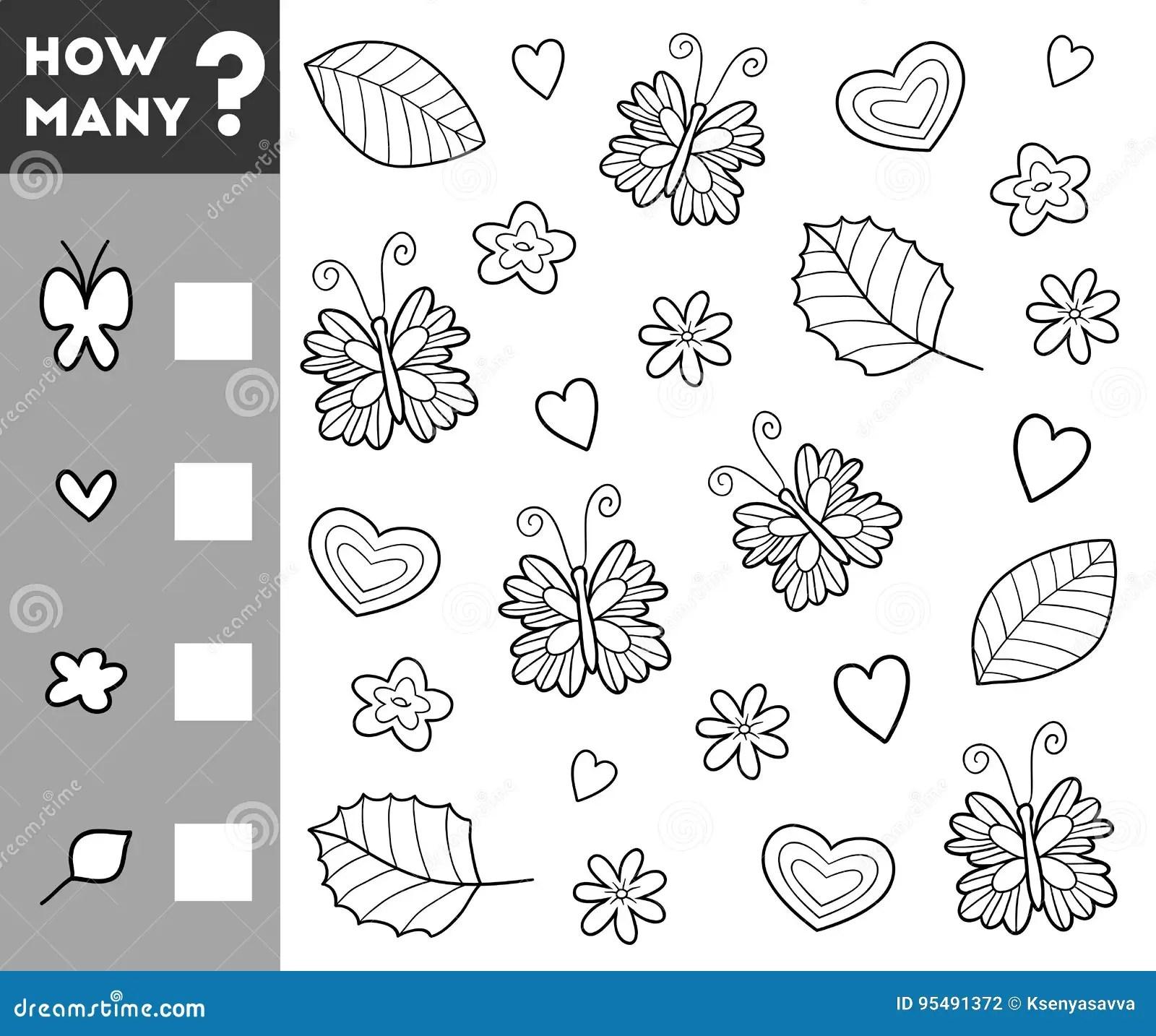 Cuenta Del Juego Para Los Ninos Preescolares Cuente Cuantos Objetos Ilustracion Del Vector