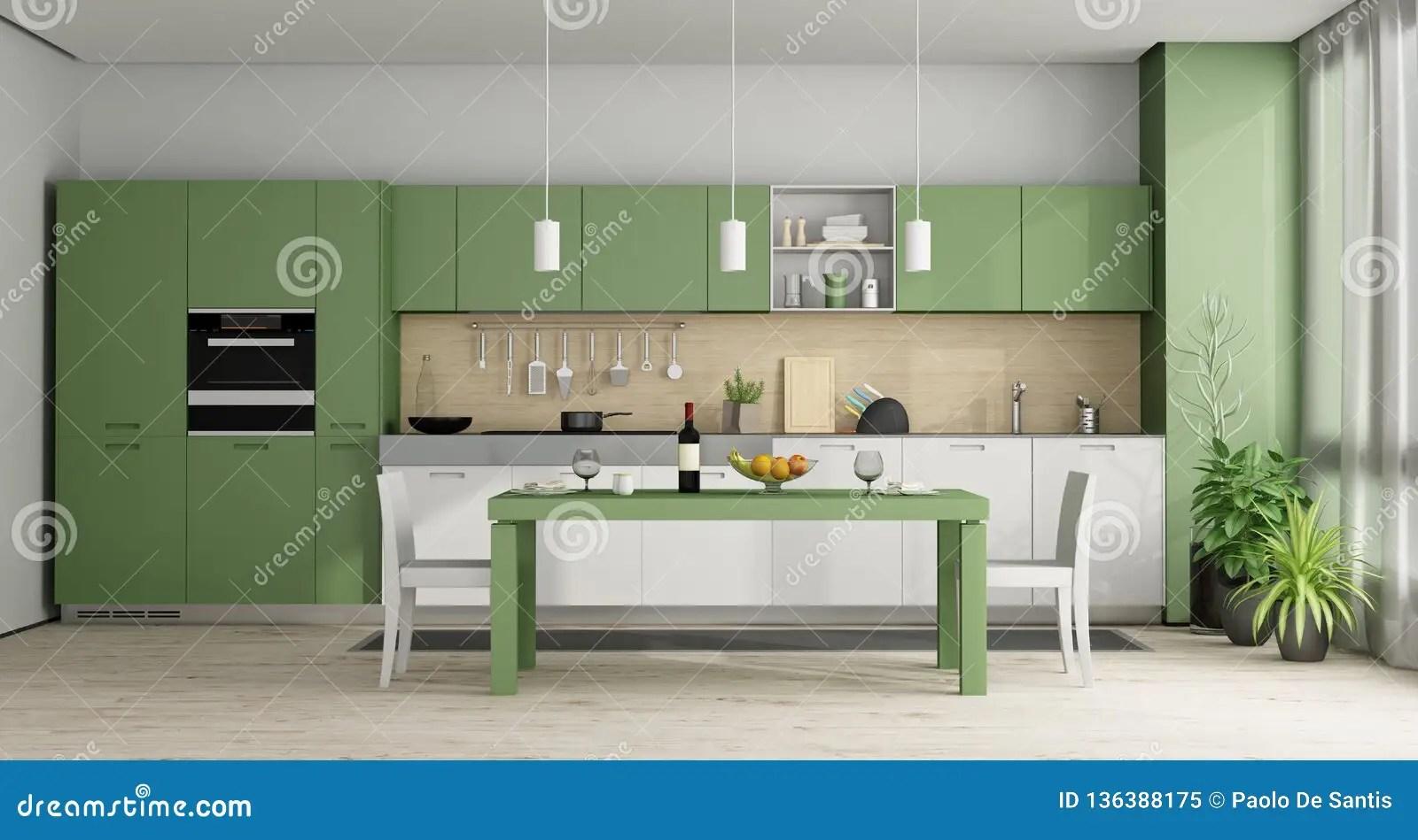 https fr dreamstime com cuisine moderne verte blanche rendu d image136388175