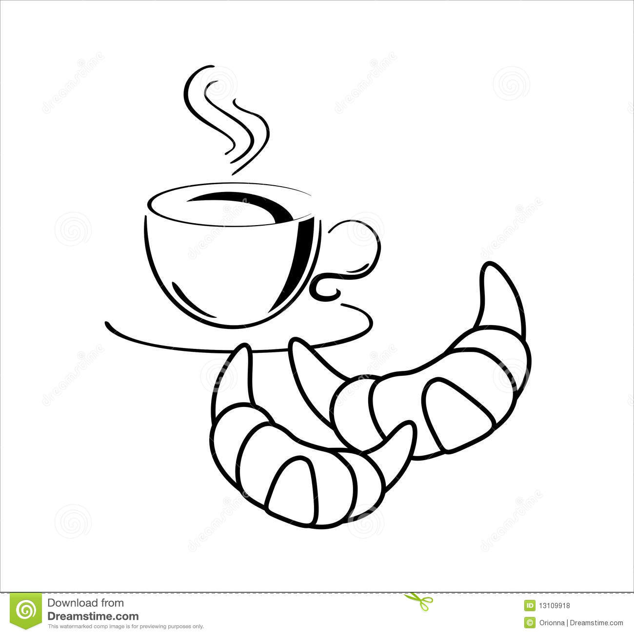 Cup Of Coffee With Croissants Stock Vector