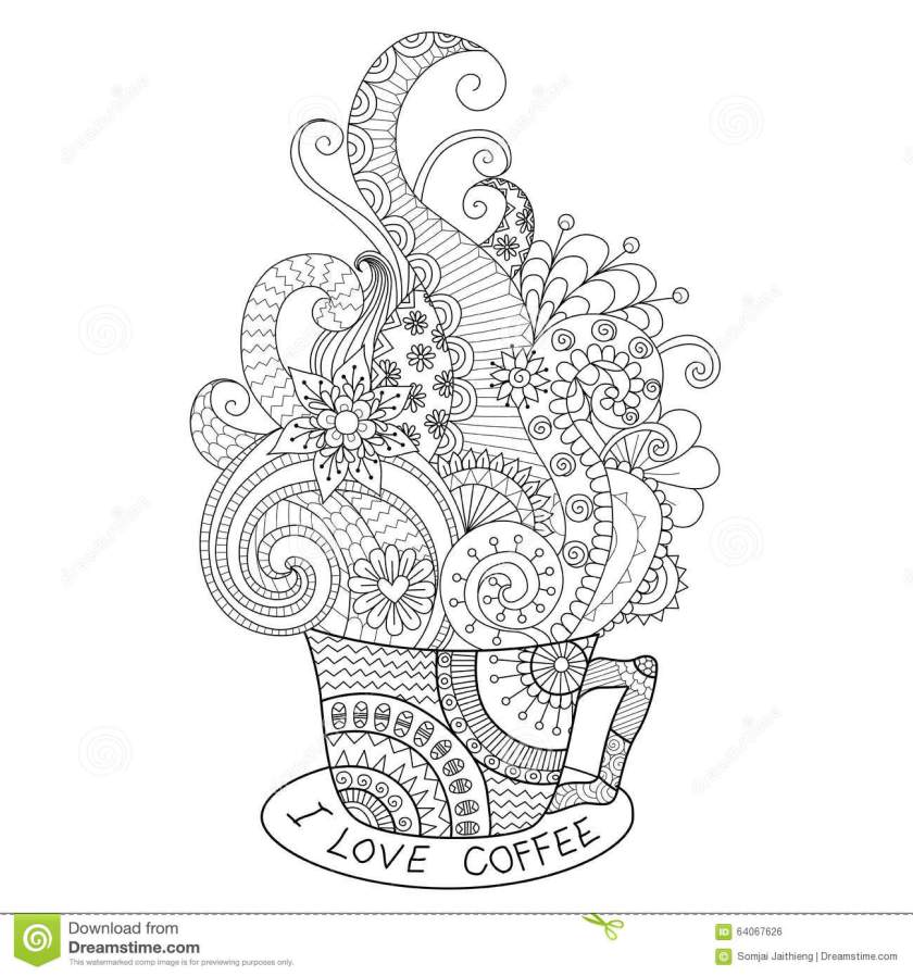 a cup of hot coffee zentangle design for coloring book for