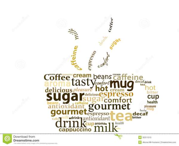 Cup made with words stock illustration. Illustration of ...