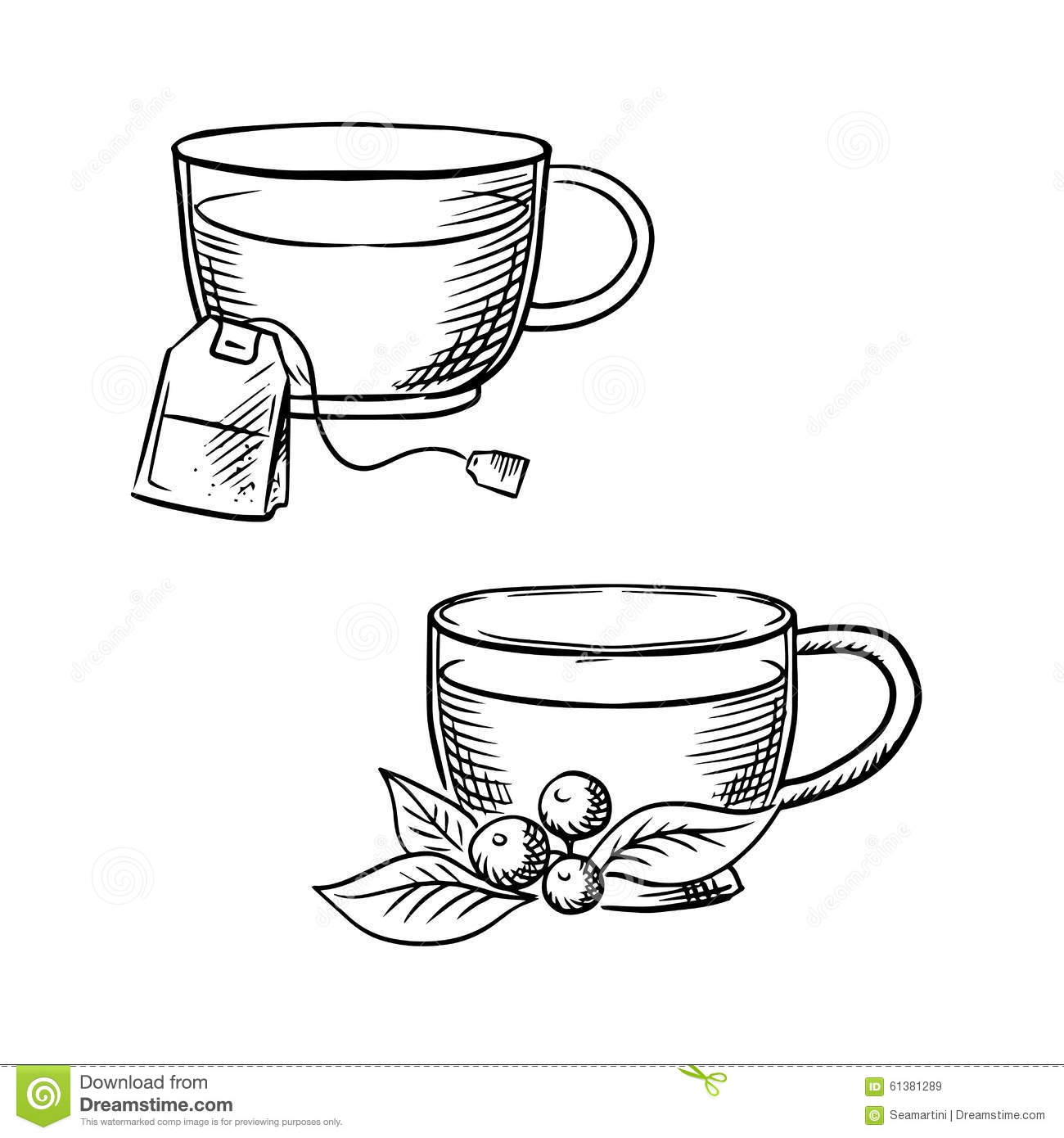Cup Of Tea With Teabag And Cowberry Sketches Stock Vector