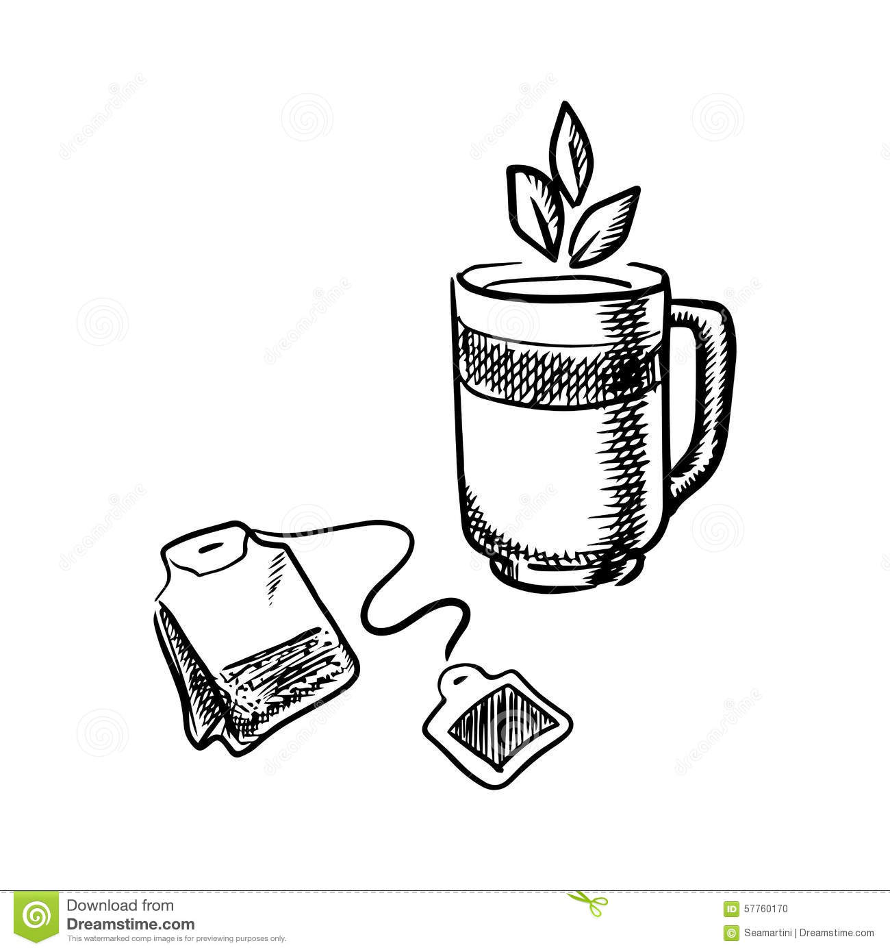 Cup Of Tea With Teabag Stock Vector