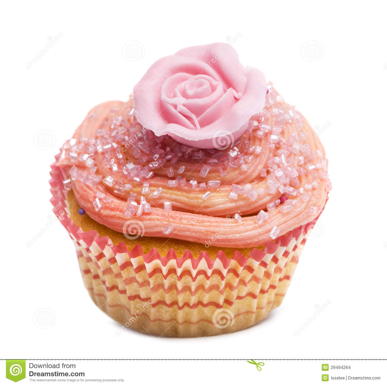 Cupcake With Pink Flower Decoration Against White