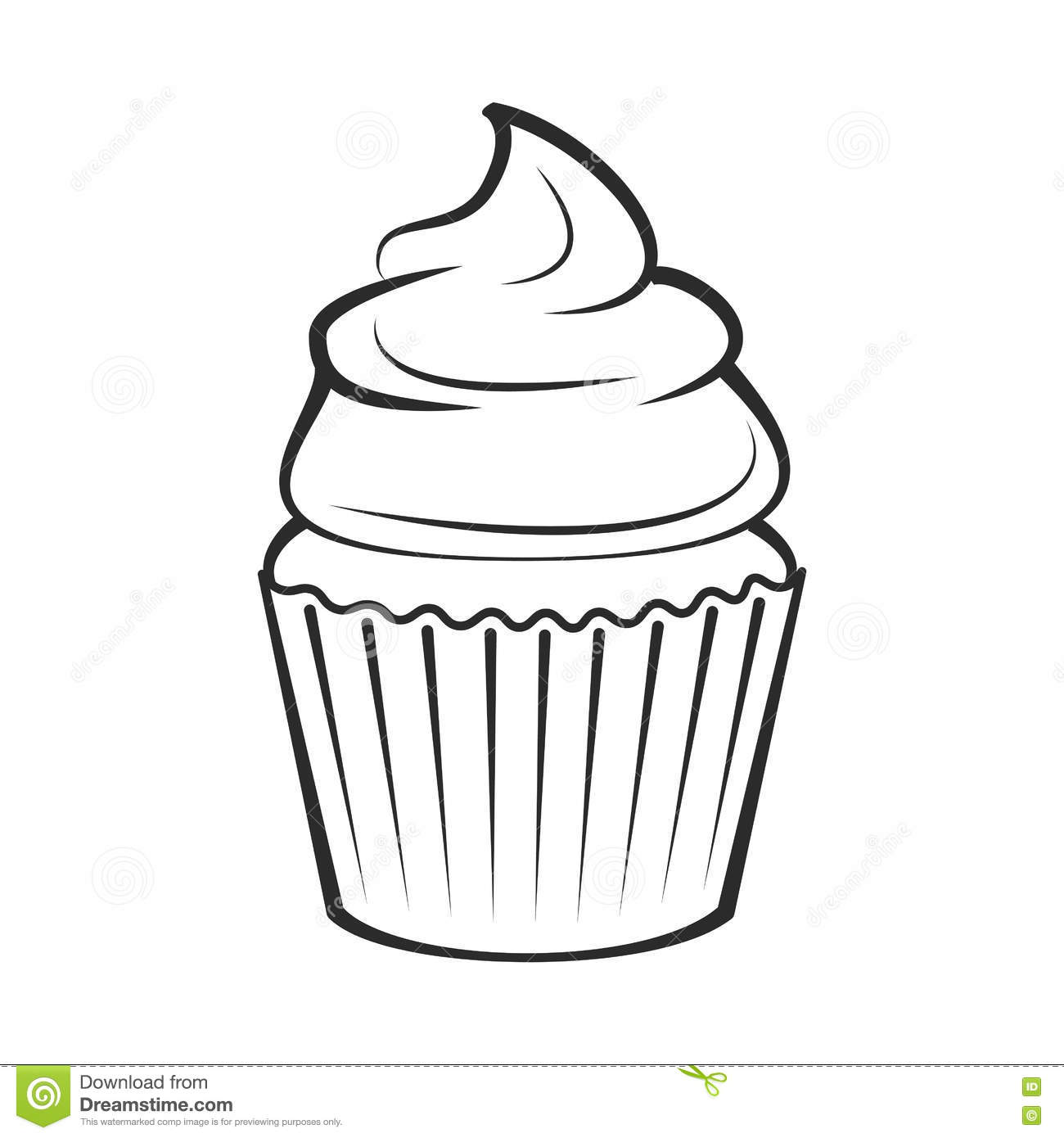 Cupcake Vector Illustration Isolated On White Stock