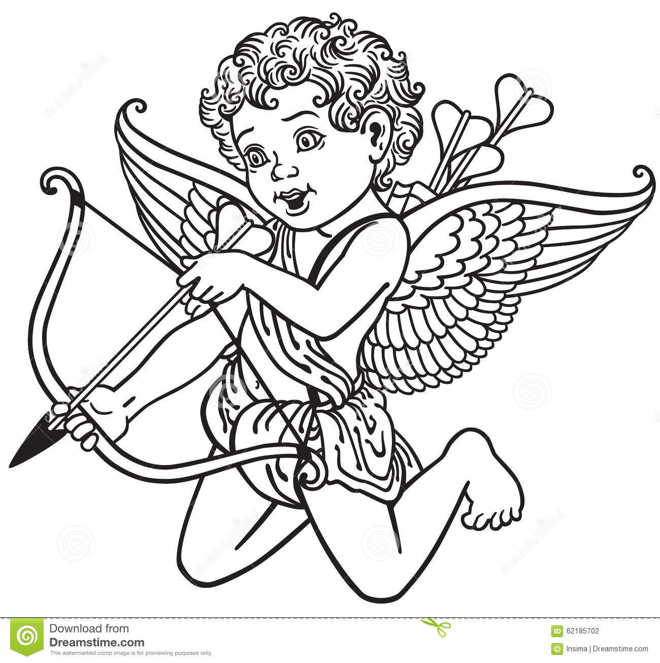 Cupid Black And White Stock Vector Illustration Of Lovely