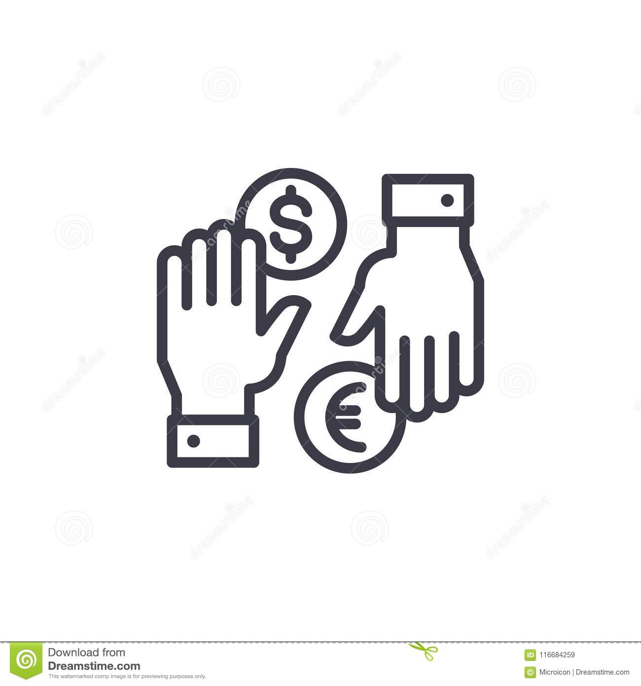 Currency Exchange Linear Icon Concept Currency Exchange