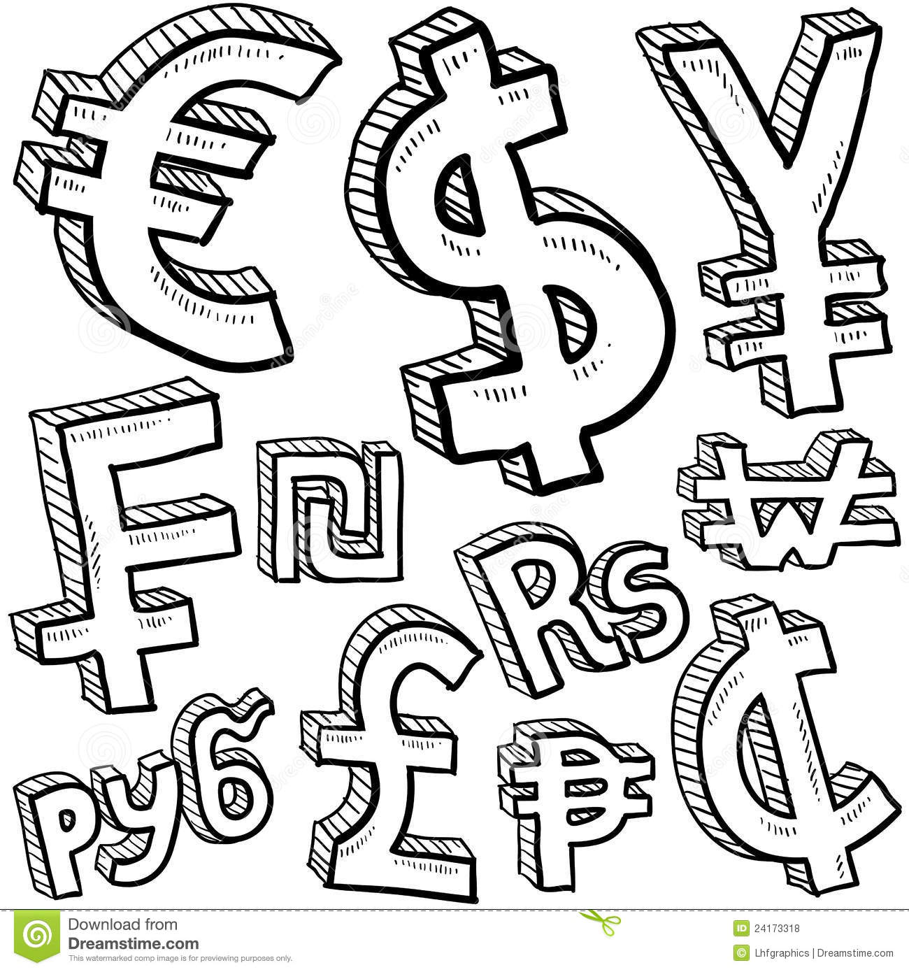 Currency Symbol Assortment Sketch Royalty Free Stock