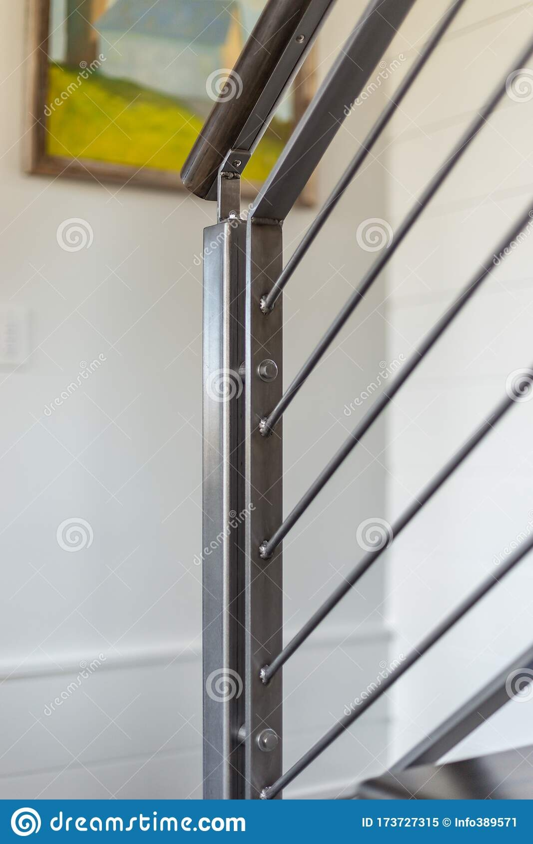 Custom Metal Stair Railing In White Interior Stock Image Image   Modern Metal Railings Interior   Modern Style   Railing Design   Fancy   Modern Aluminium   Decorative