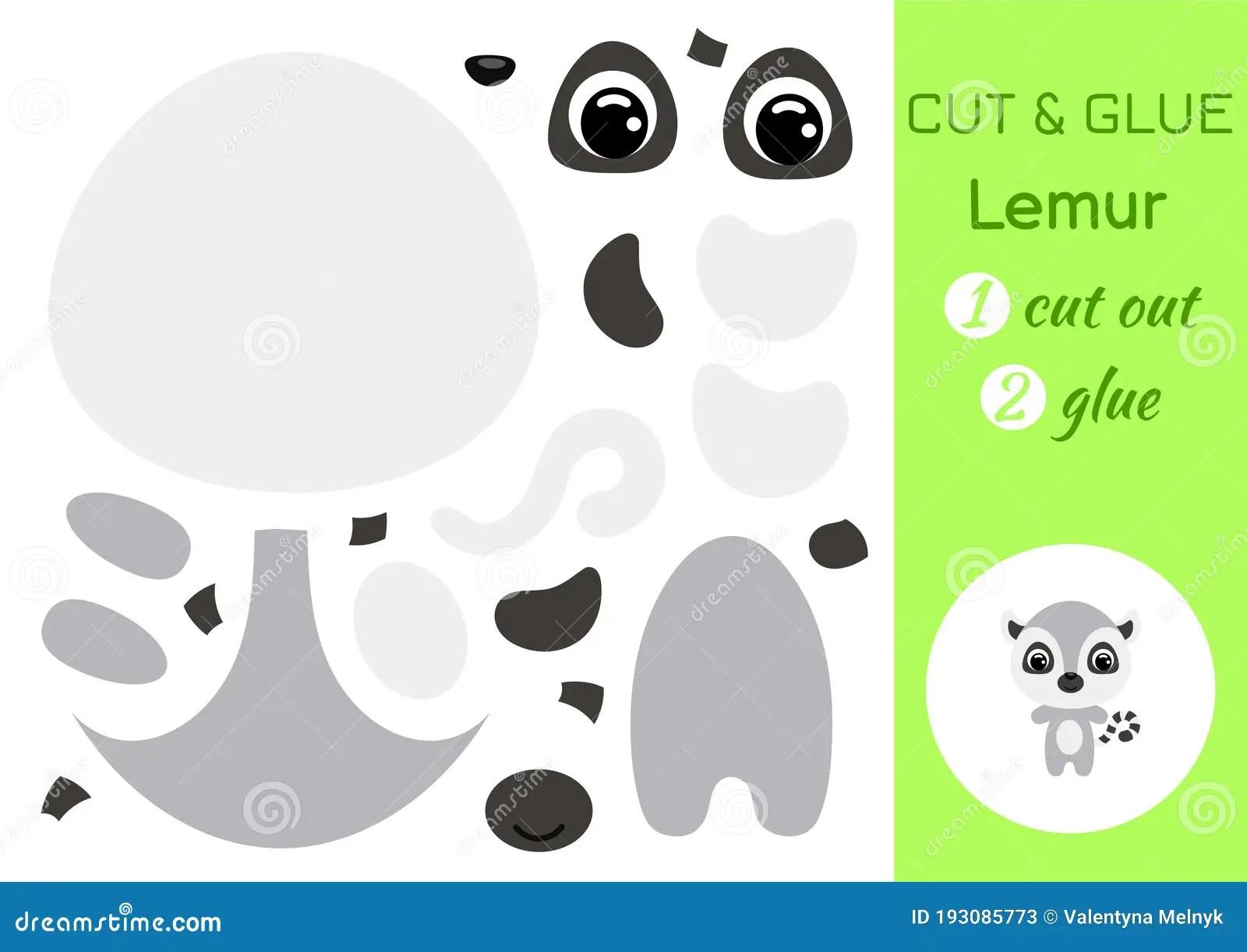 Cut And Glue Baby Lemur Education Developing Worksheet