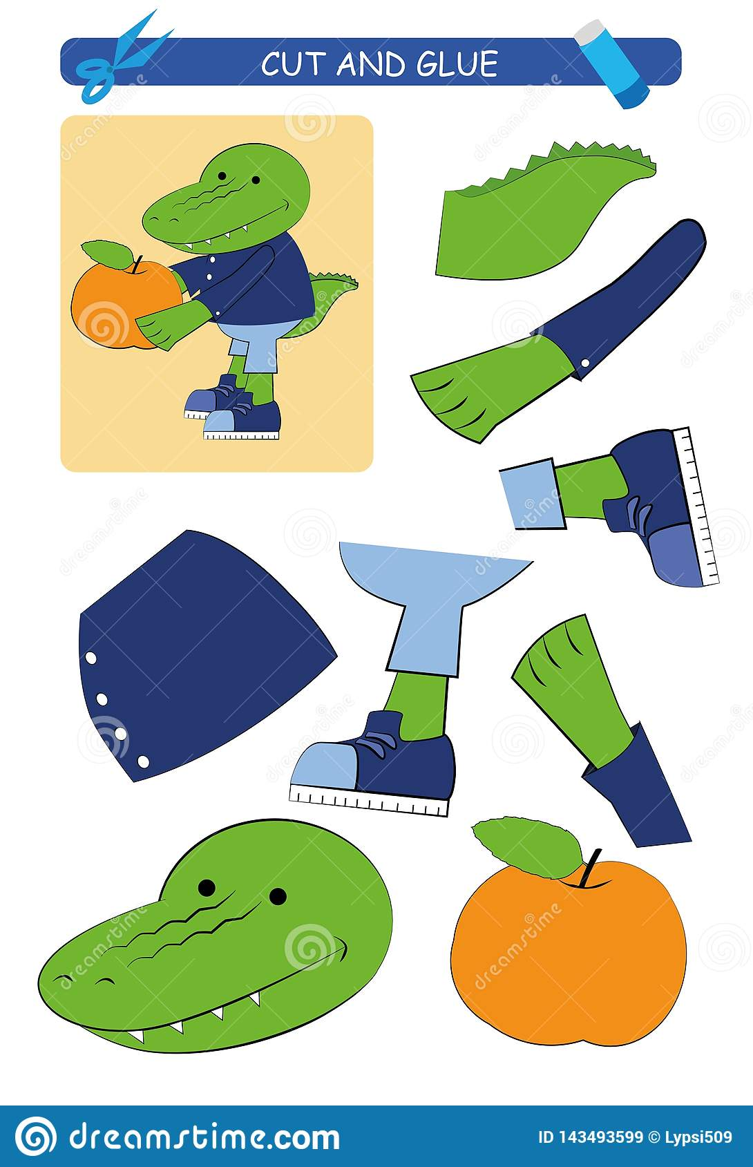 Cut And Glue Worksheet Crocodile Educational Game For