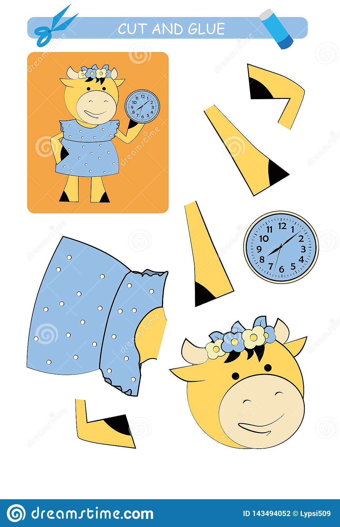 Cut And Glue Worksheet Cow Educational Game For Kids
