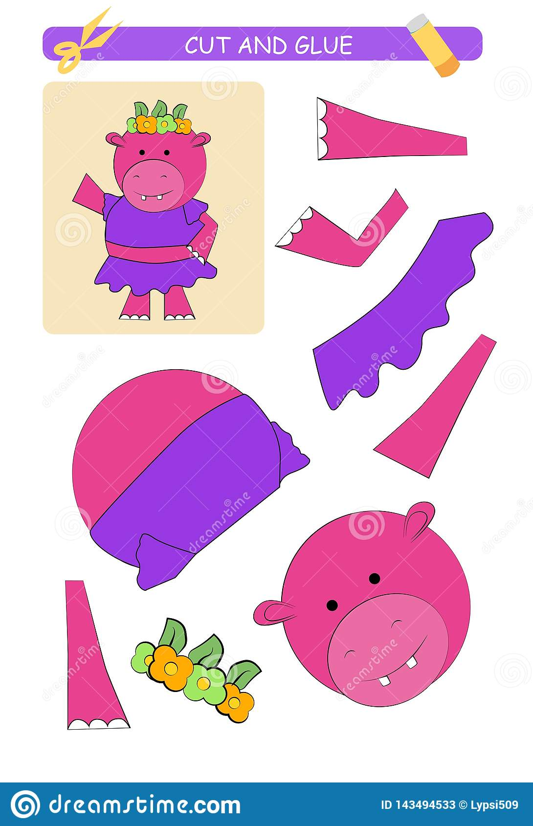 Cut And Glue Worksheet Hippopotamus Educational Game For