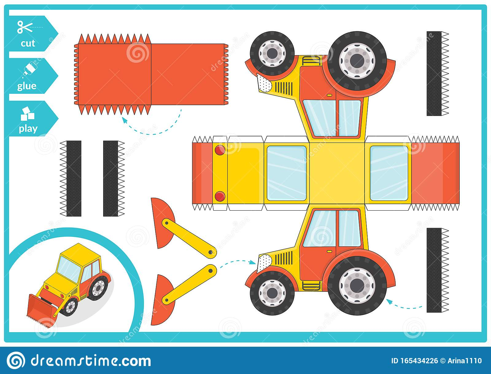 Cut And Glue A Paper Car Children Art Game For Activity