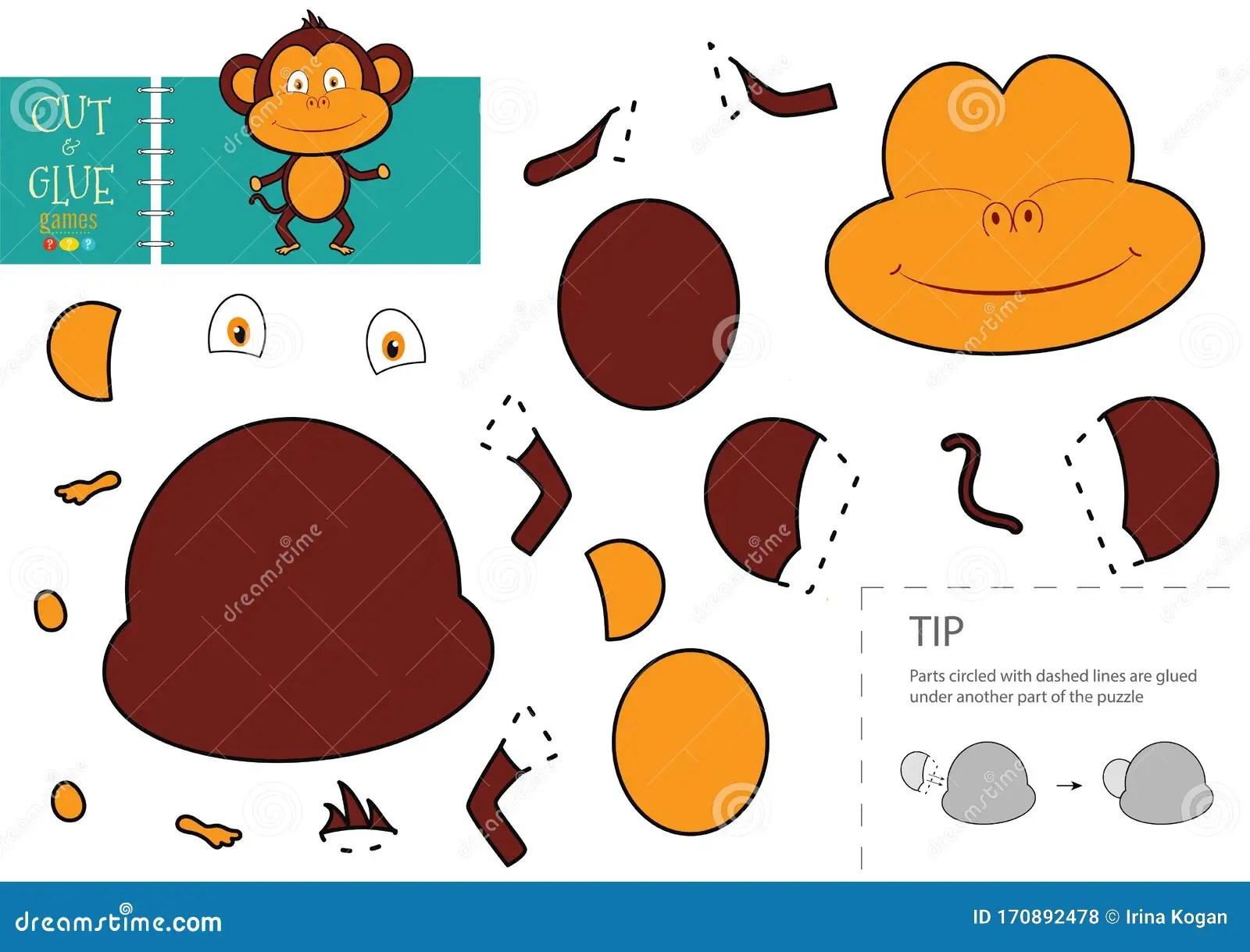 Cut And Glue Paper Toy Preschool Kids Vector Educational