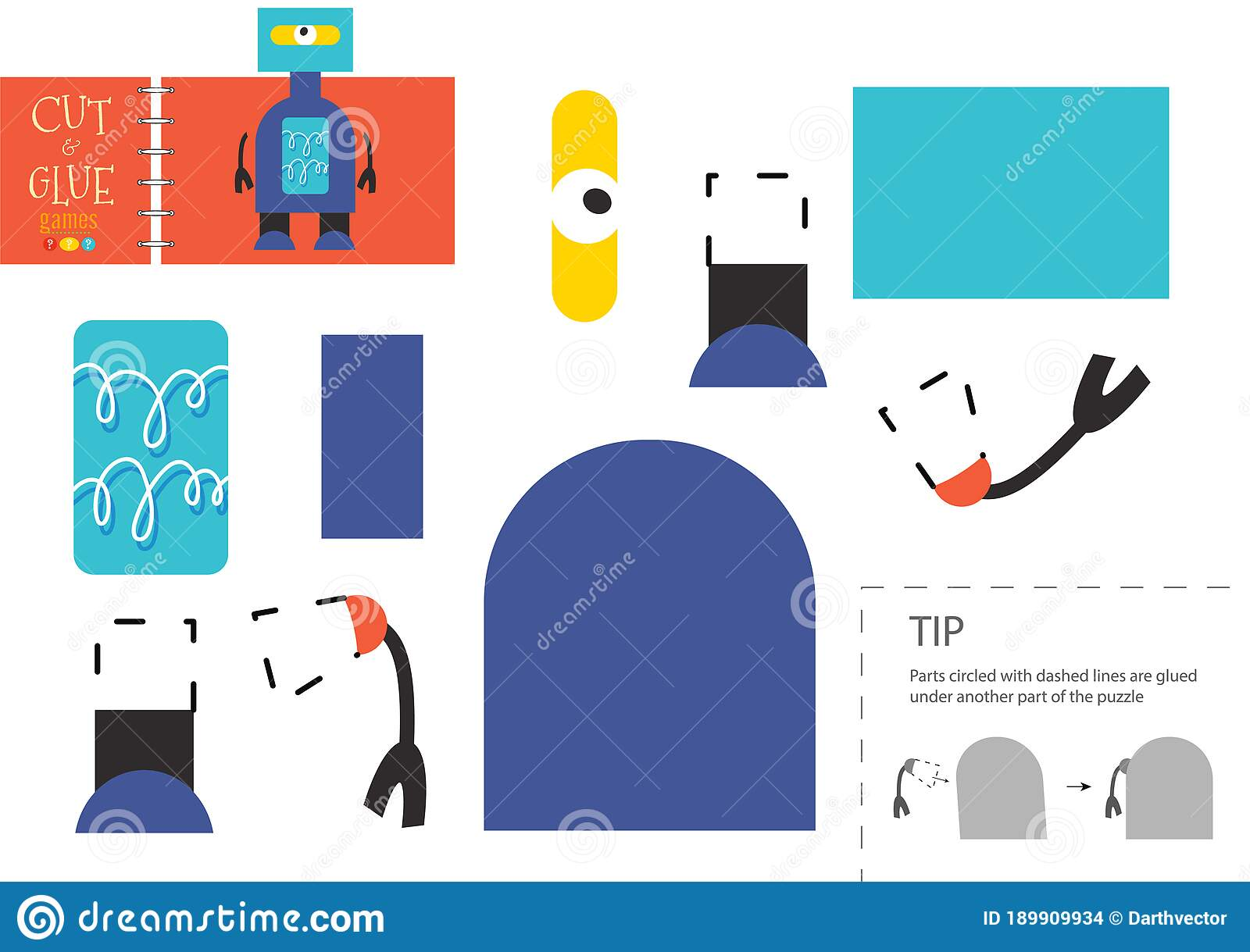 Cut And Glue Paper Toy Preschool Kids Vector Educational
