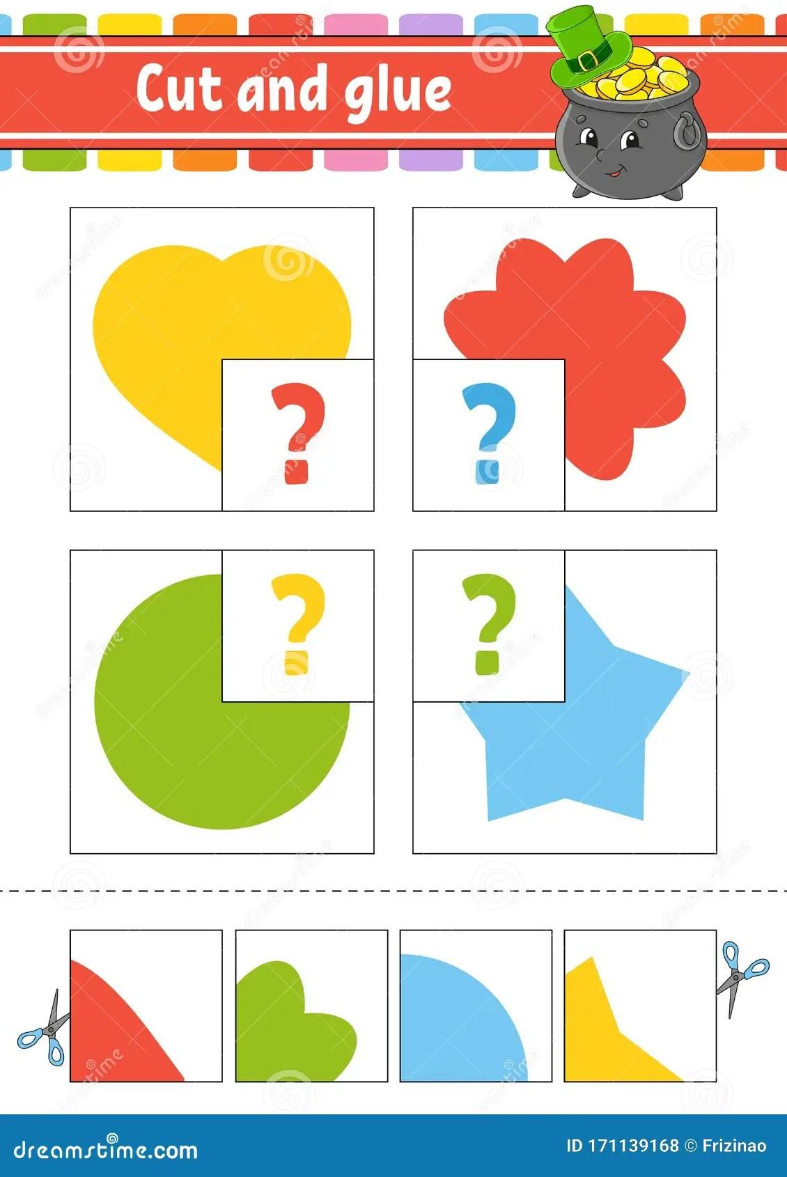 Cut And Glue Set Flash Cards Education Worksheet
