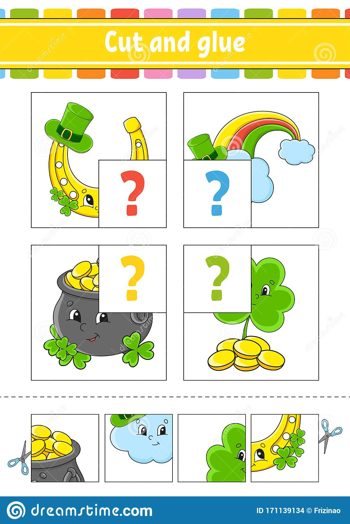 Cut And Glue Set Flash Cards St Patrick S Day
