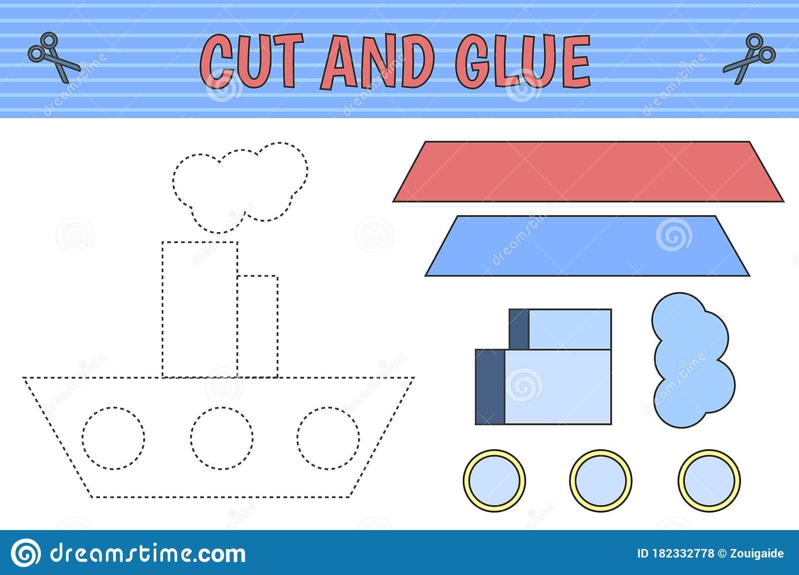 Cut And Glue Ship Stock Vector Illustration Of Children